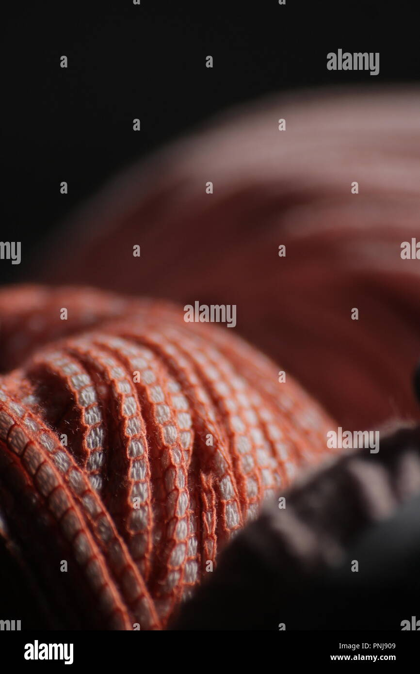 Woolen image. Soft photography. Macro detail of the ball of wool - Stock Image