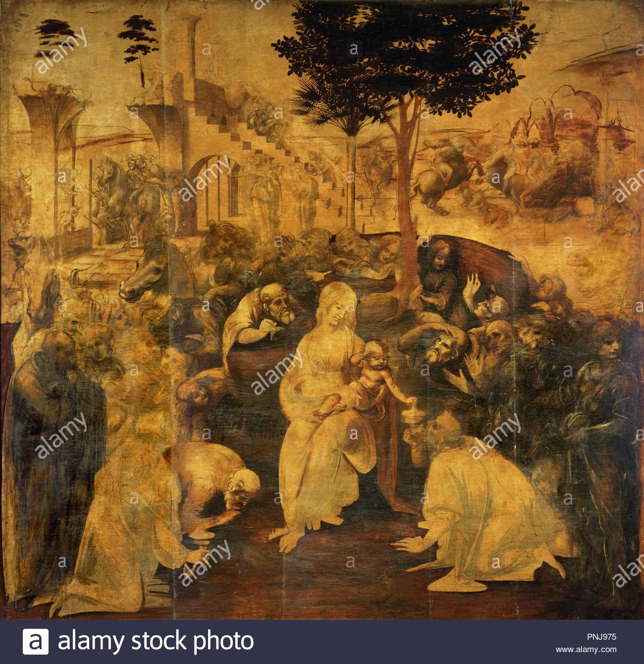 Leonardo Da Vinci / 'Adoration of the Magi', 1481, Oil on wood, 246 x 243  cm. Museum: GALLERIA DEGLI UFFIZI.