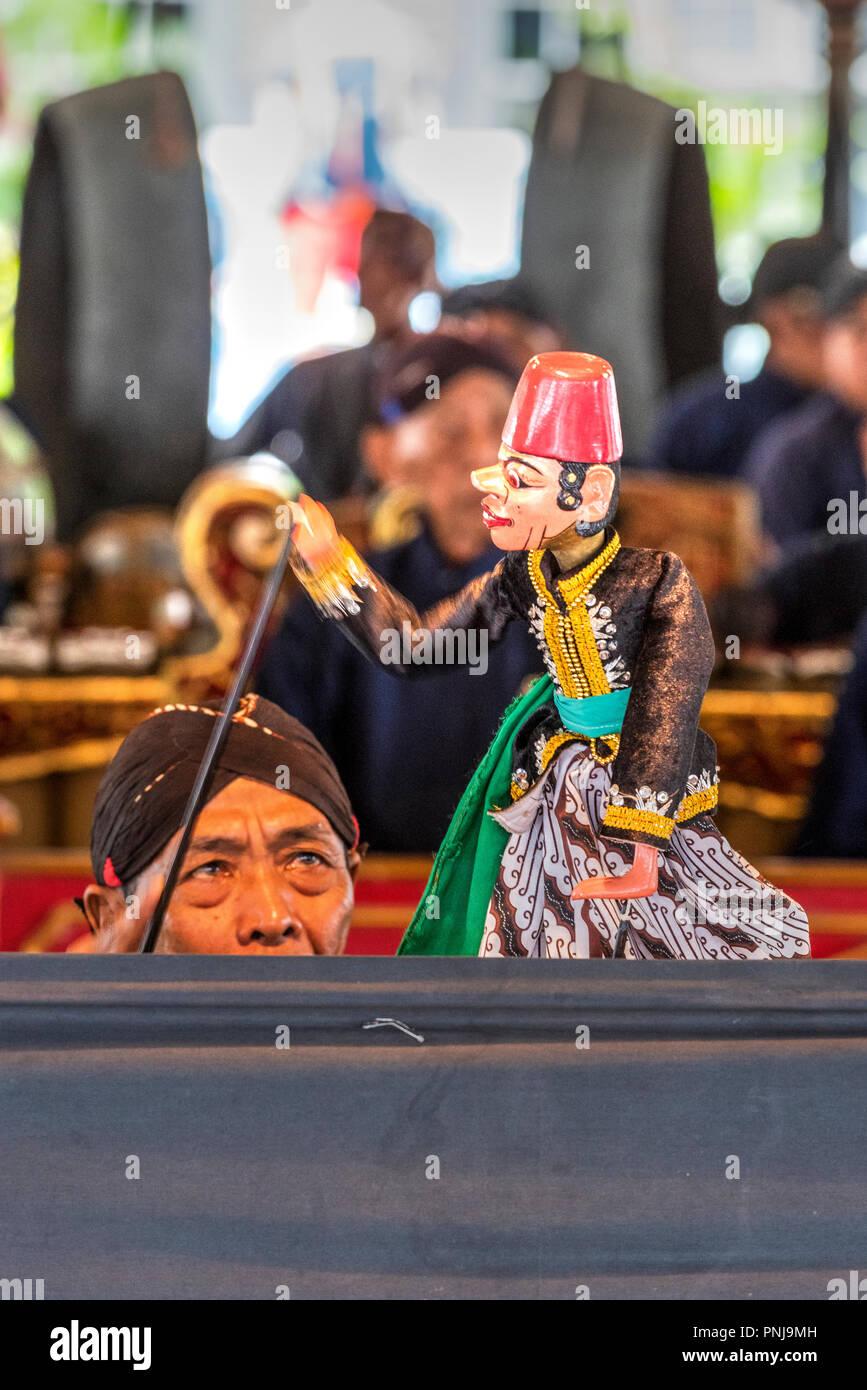 Traditional Indonesian Wayang Golek puppets performance, Kraton palace, Yogyakarta, Java, Indonesia - Stock Image