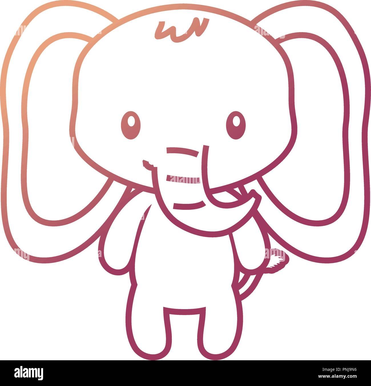 cute elephant baby sitting cartoon vector illustration neon - Stock Vector