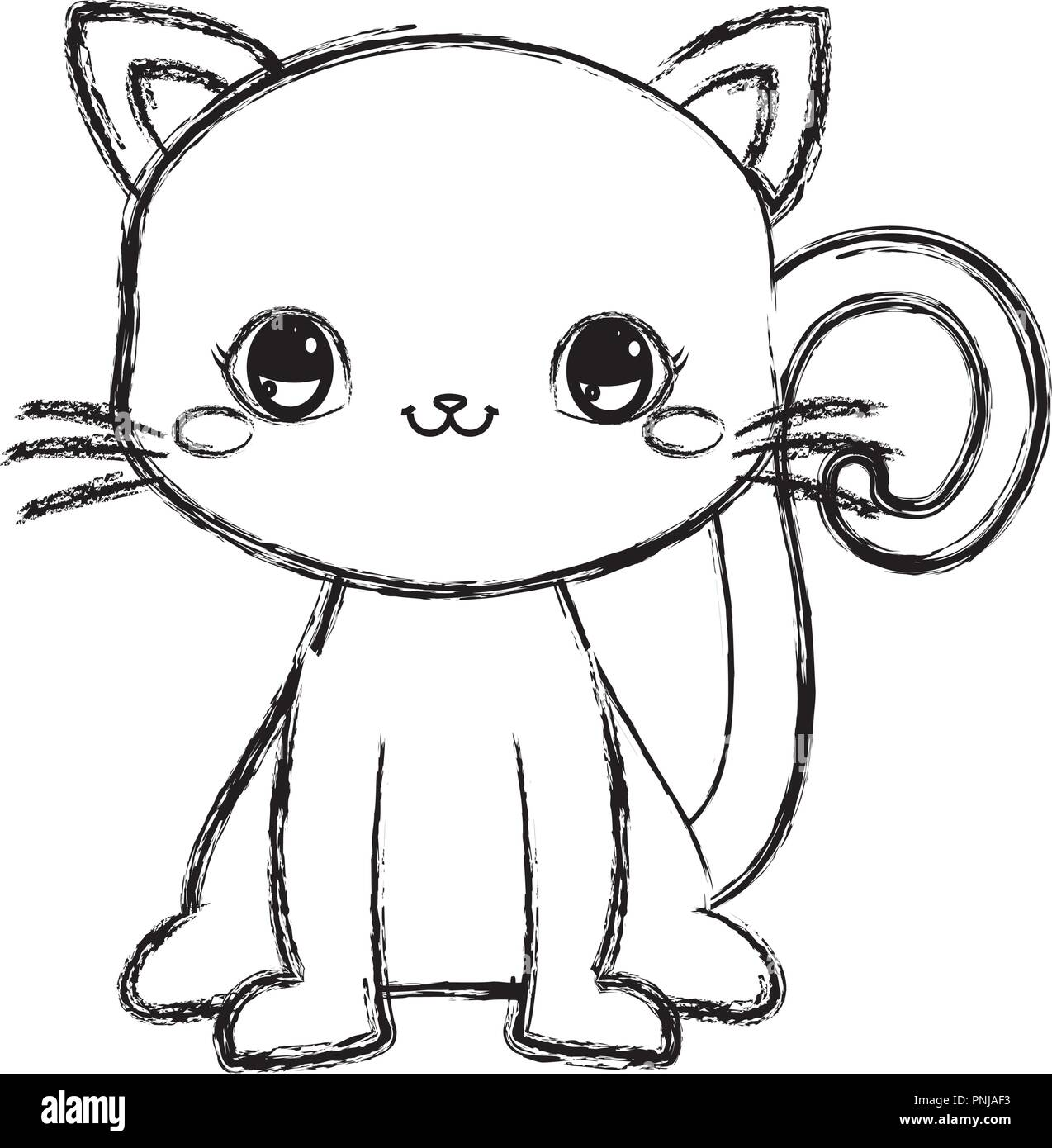 Cute Kitty Baby Sitting Cartoon Vector Illustration Hand Drawing