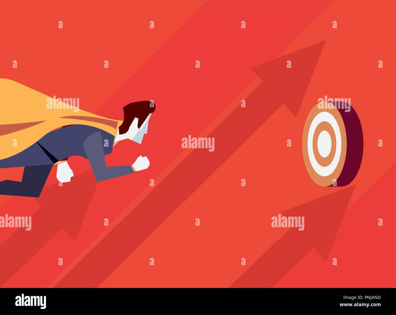 businessman hero character flying target business vector illustration - Stock Vector