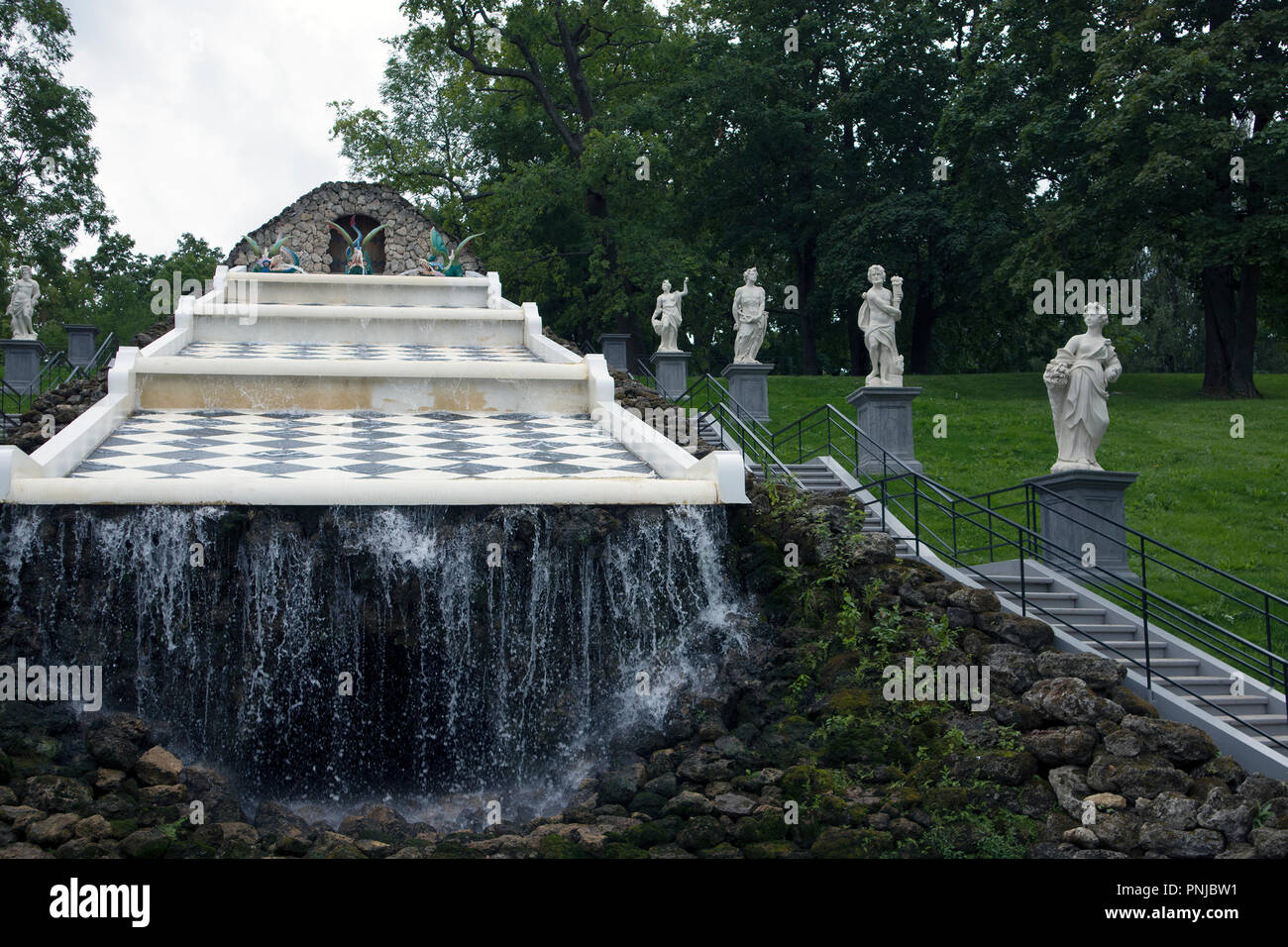 Fountain 'Chess Mountain' in Peterhof, Russia, checkered inclined surface with waterfall, 18th century landmark - Stock Image