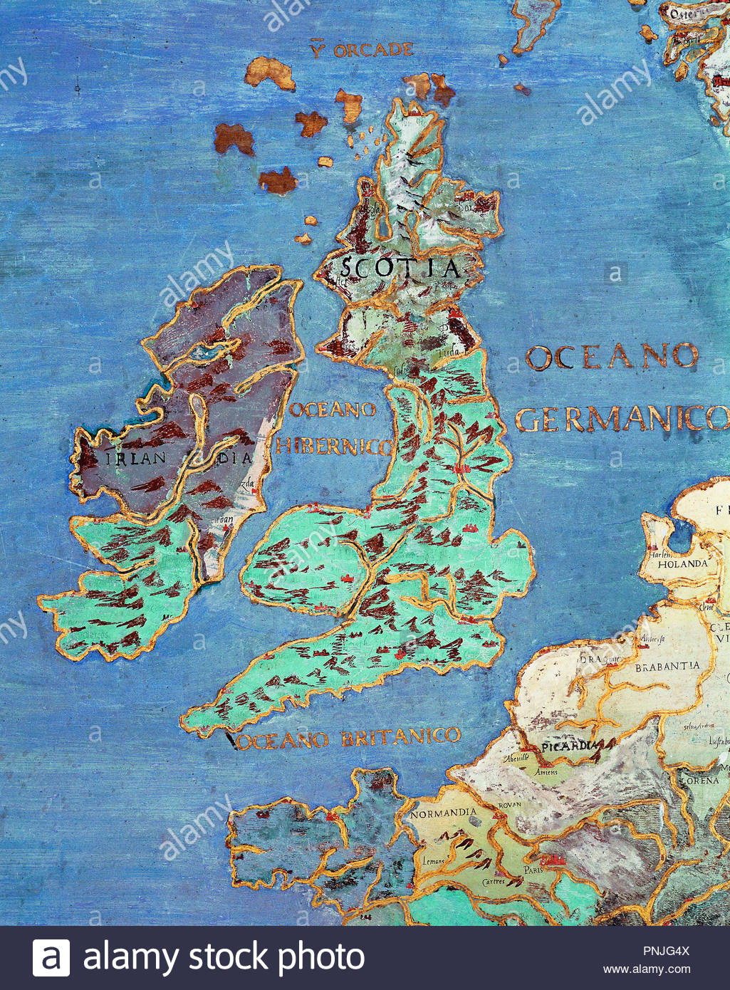 Map Of North Coast Of France.Varese Antonio Known 1562 1590 Map Of The British Isles And