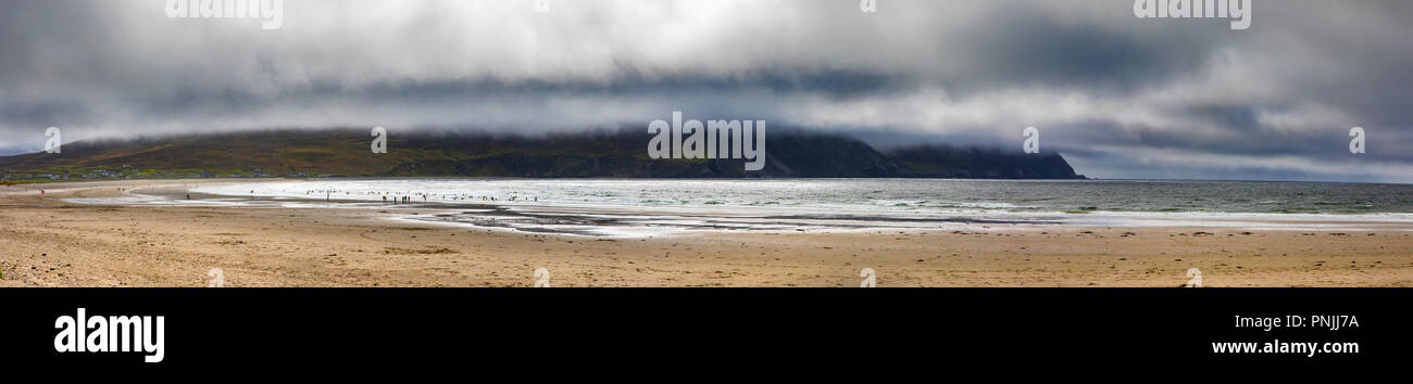 A panoramic view of the beautiful Keel Beach on Achill Island in County Mayo, Ireland. - Stock Image