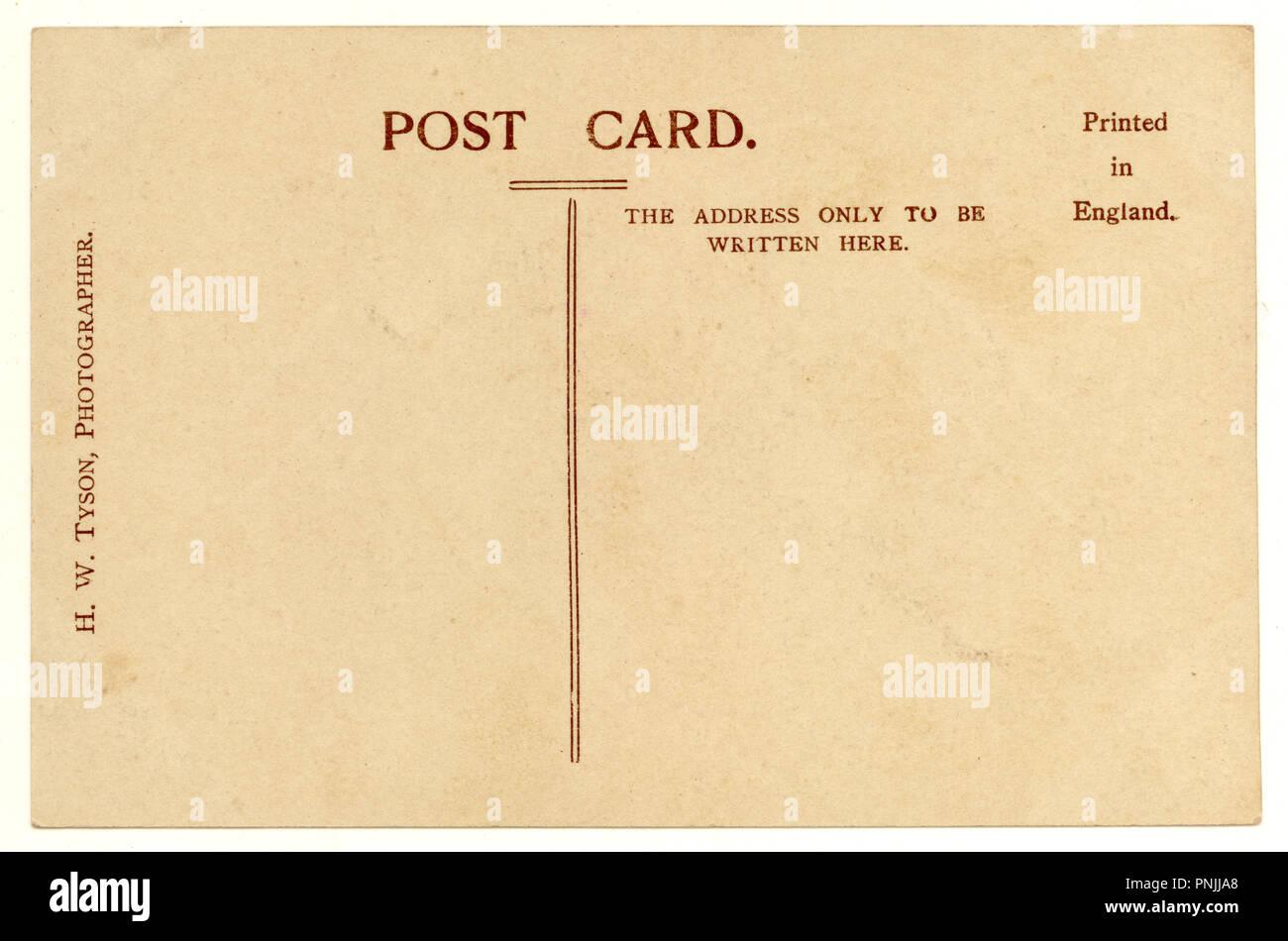 34-VBW1413 Reverse of Edwardian Postcard - Stock Image