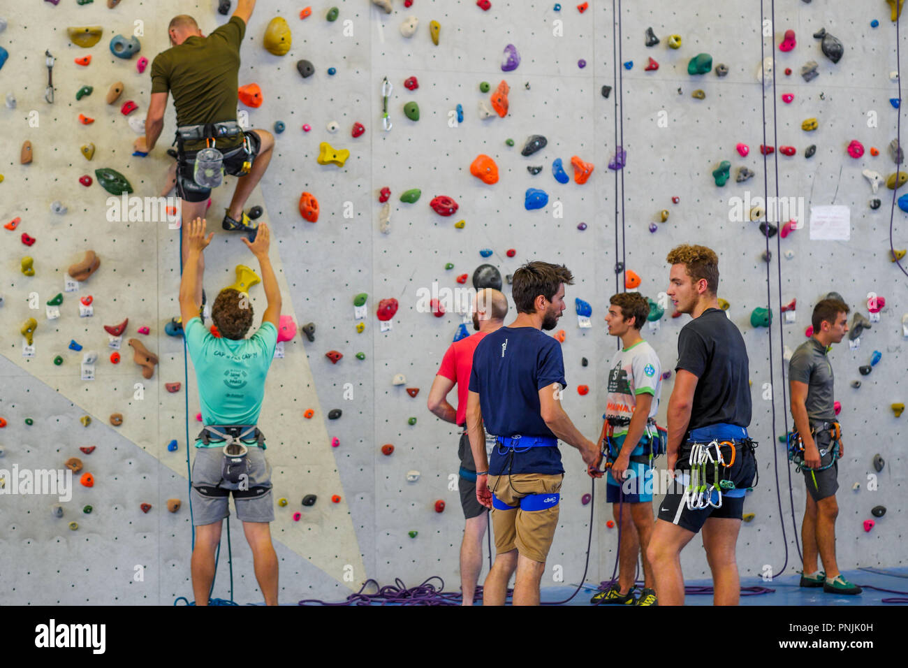 Indoor climbing wall, STAPS sports Higher School, Villeurbanne, France - Stock Image