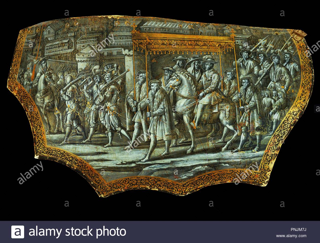 Parade shield after Giovanni Stradanus: Entry of Cosimo I. de Medici, Grandduke of Tuscany, into Rome 1569. Canvas on wood, grisaille, hightened with gold. Author: Stradanus. Location: Louvre, Dpt. des Objets d'Art, Paris, France. - Stock Image