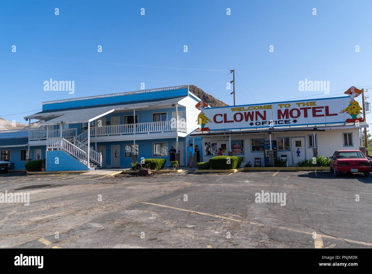 Clown Motel sign in Tonopah Nevada, is a kitschy roadside attraction and is said to be haunted - Stock Image