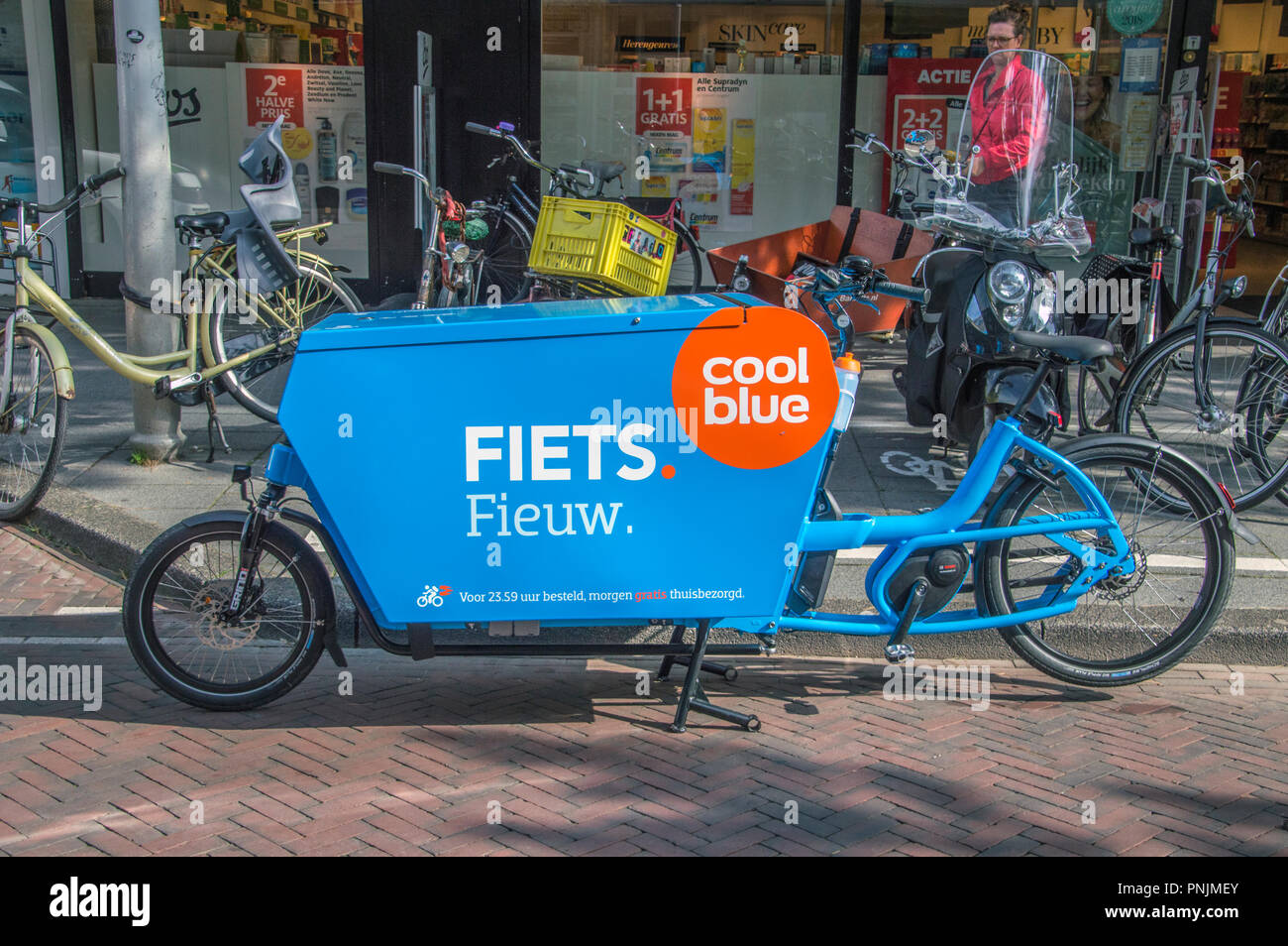 Bicycle Delivery Service From Coolblue At Amsterdam The Netherlands 2018 - Stock Image
