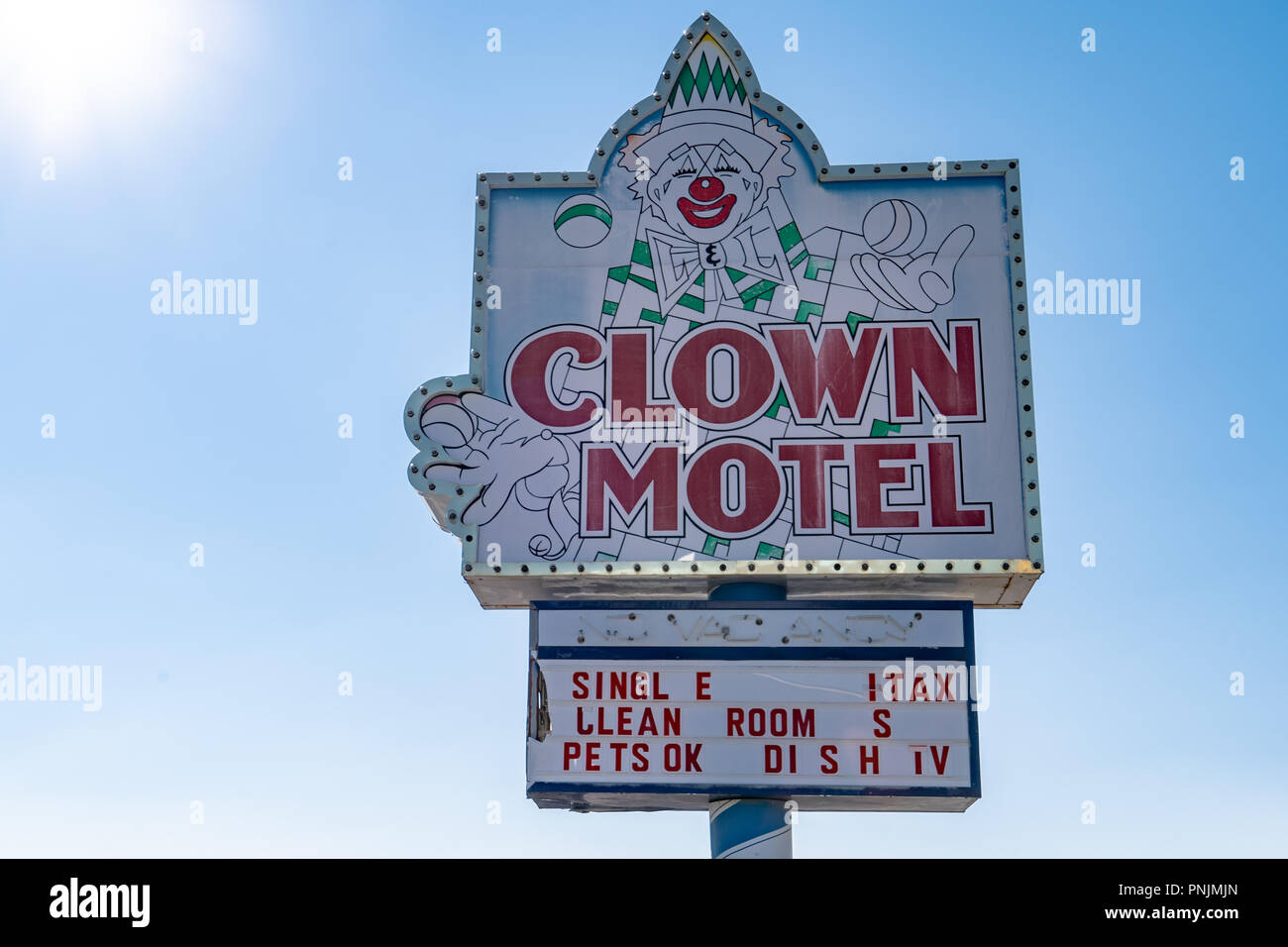 Clown Motel sign in Tonopah Nevada, is a kitschy roadside attraction - Stock Image