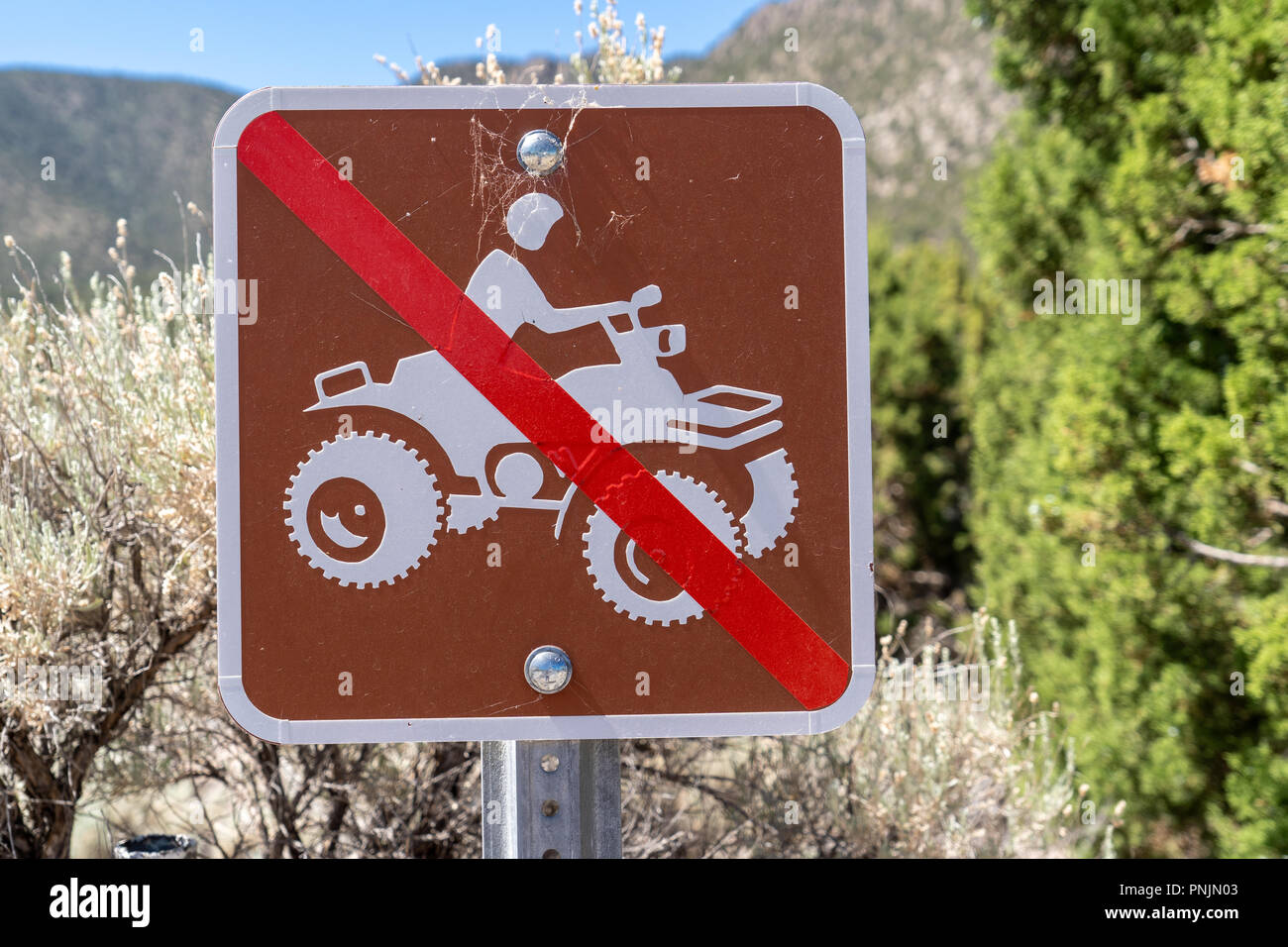 Sign for no 4x4 ATV (all terrain vehicles) or off roading sign - Stock Image