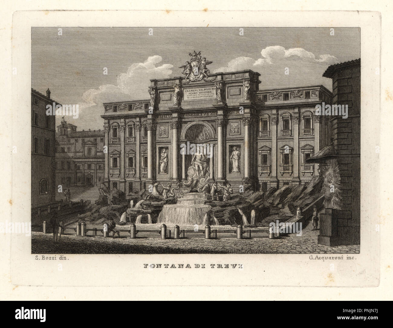 View of the Trevi Fountain, Fontana di Trevi, Rome. Copperplate engraving by G. Acquaroni after an illustration by Sylvestro Bossi from Achille Parboni's New Collection of Principal Views Ancient and Modern of the City of Rome, 1830. - Stock Image