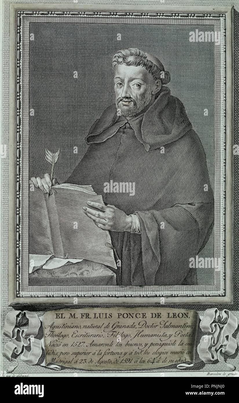 FRAY LUIS PONCE DE LEON(1527/91)TEOLOGO, ESCRITOR Y HUMANISTA, DIBUJO DE MAEA, BURIL 35x26, COBRE, NºINV 3137. Author: BARCELON. Location: CALCOGRAFIA NACIONAL. MADRID. SPAIN. - Stock Image