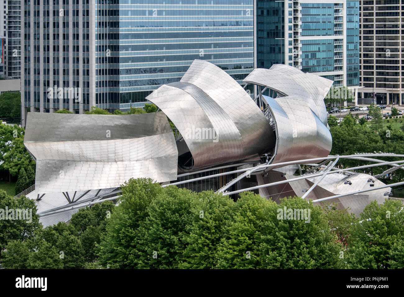 Jay Pritzker Pavilion by architect Frank O. Gehry in Millennium Park, Downtown Chicago, IL. - Stock Image