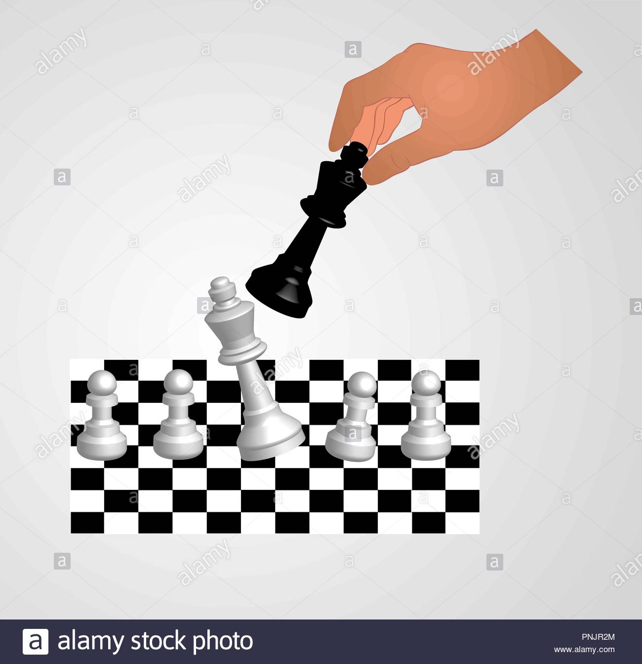 A chess game with hand on final move - Stock Vector
