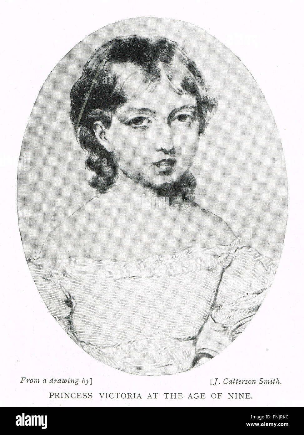 Princess Victoria, aged 9, future Queen Victoria as a child.  Later to be Queen of the United Kingdom of Great Britain and Ireland, and Empress of India - Stock Image