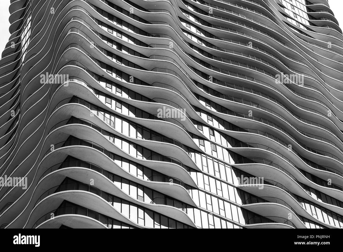 Detail of Aqua Tower by American architect Jeanne Gang, on Columbus Drive, Downtown Chicago, IL.. - Stock Image