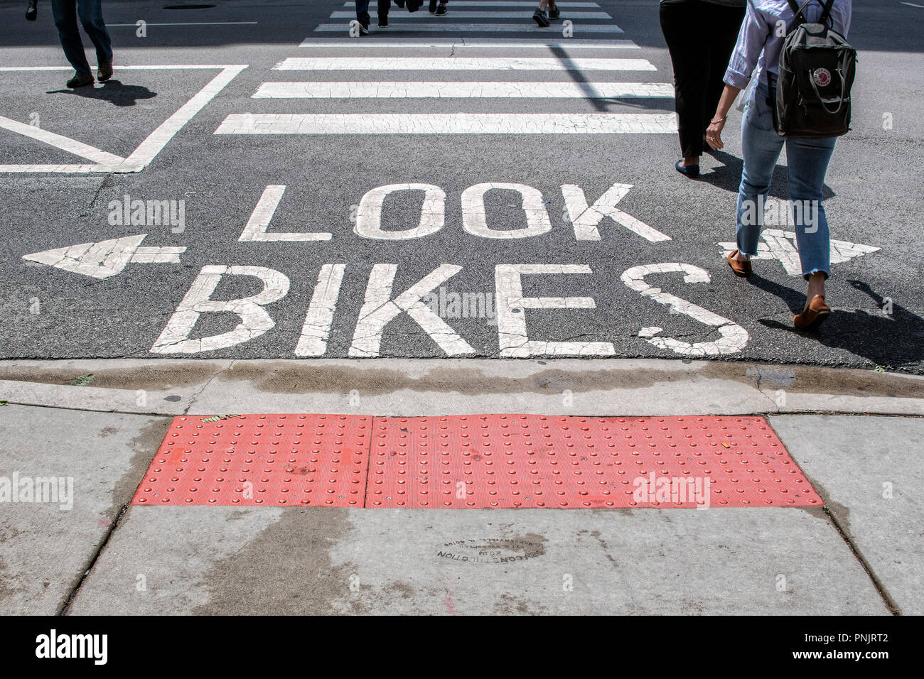 Sign for bikers, Downtown Chicago, IL. - Stock Image