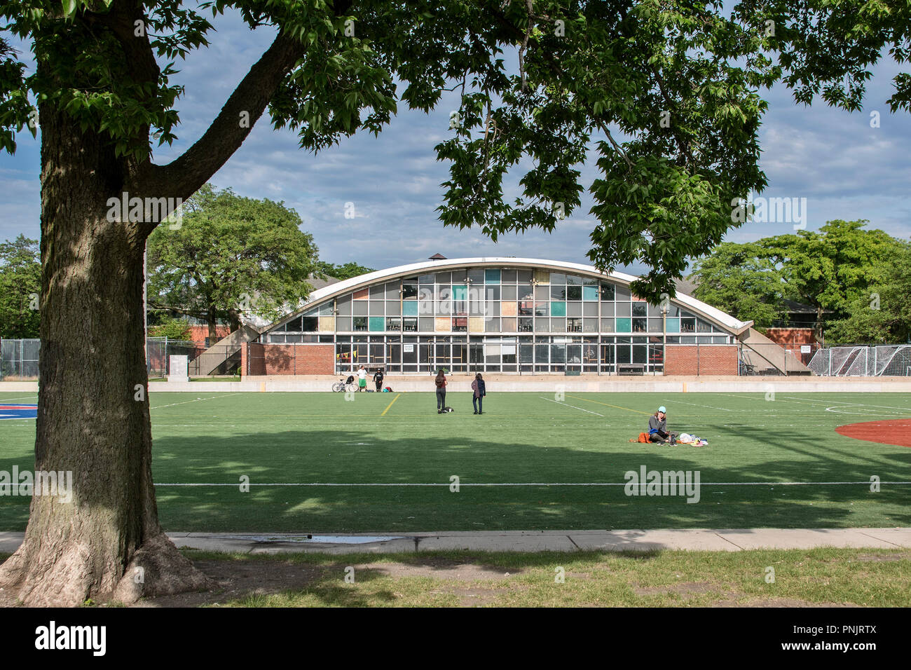 Harrison Park, sports field and natatorium in the Pilsen neighborhood, historic area on the Lower West Side of Chicago, IL. - Stock Image