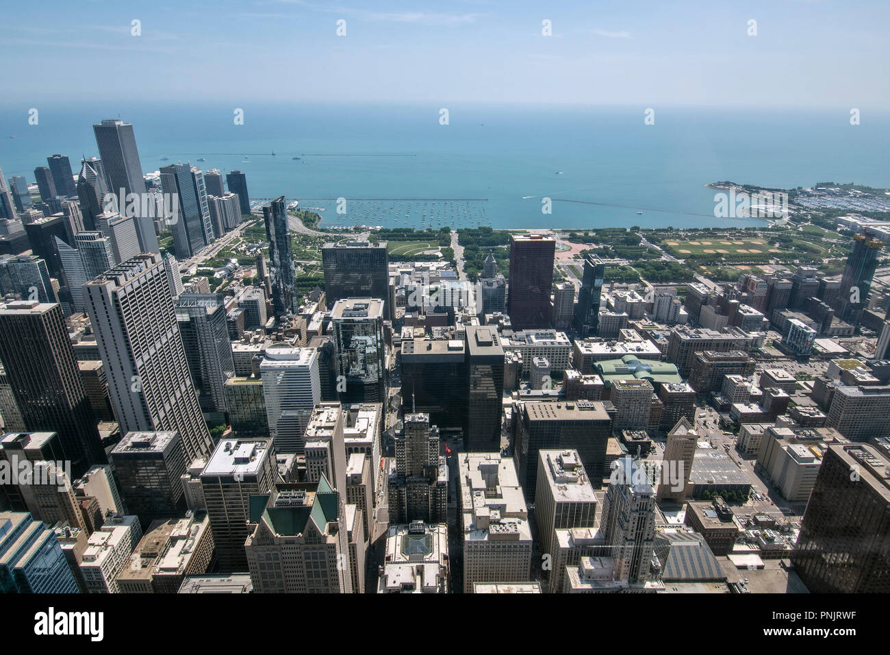 View of downtown Chicago skyscrapers, Millennium Park and Lake Michigan from Willis Tower Skydeck, Chicago, IL. - Stock Image