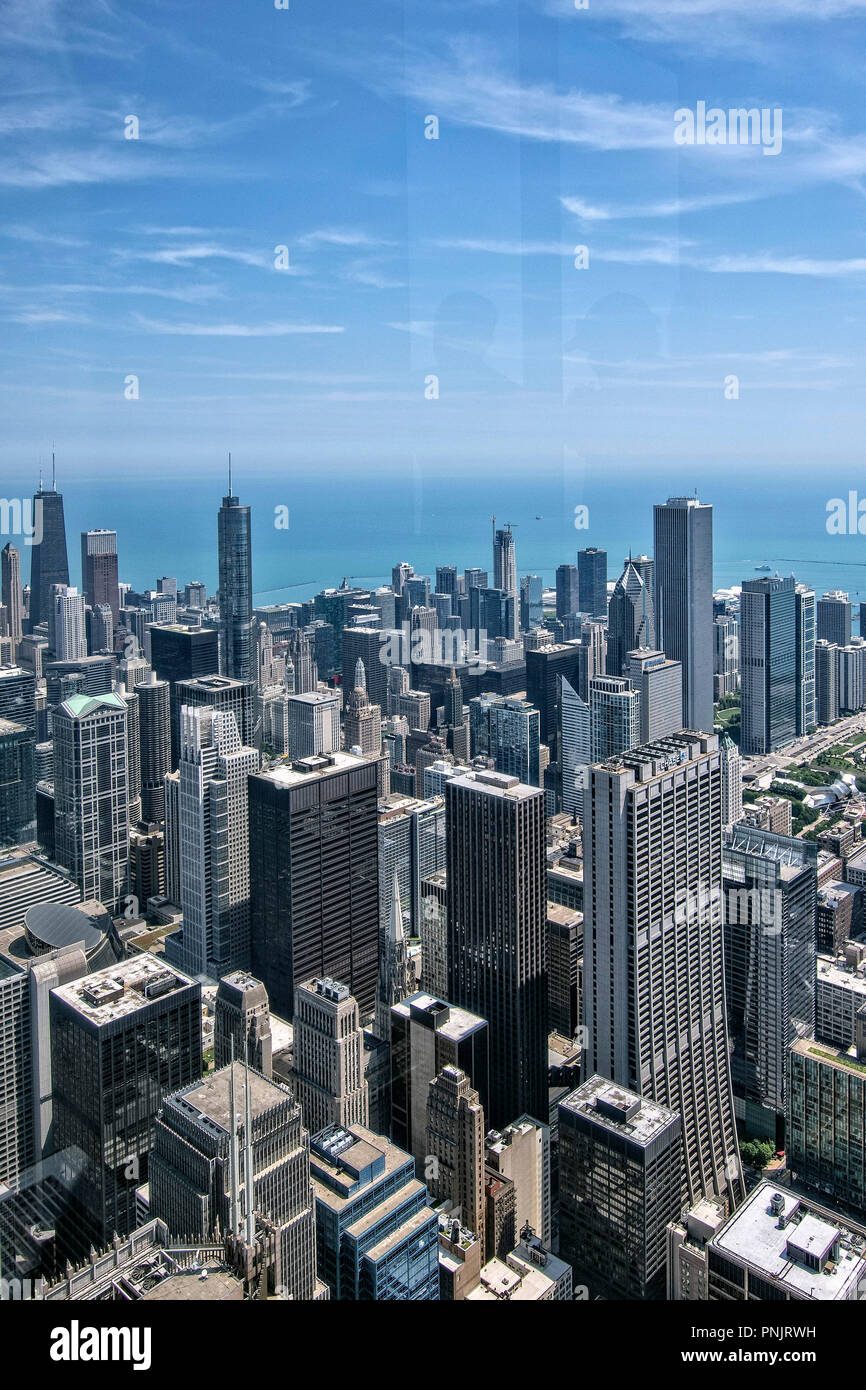 View of downtown Chicago skyscrapers and Lake Michigan from Willis Tower Skydeck, Chicago, IL. - Stock Image