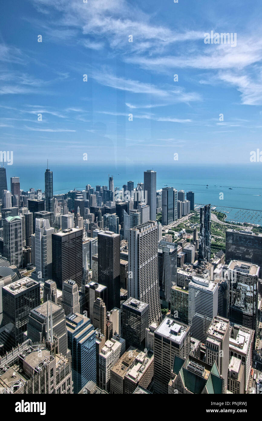 View from Willis Tower Skydeck of downtown Chicago skyscrapers, Millennium Park and Lake Michigan, Chicago, IL. - Stock Image