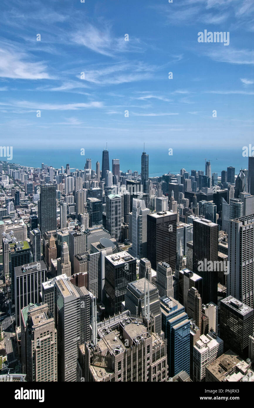 View of skyscrapers, John Hancock Building, Downtown Chicago and Lake Michigan from Willis Tower Skydeck, Chicago, IL. - Stock Image