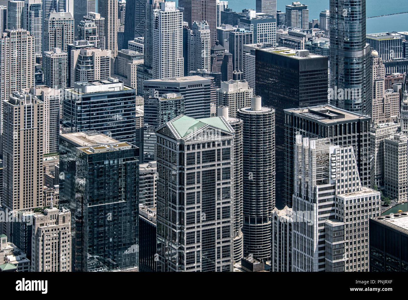 View of skyscrapers with Marina Towers from the Willis Tower Skydeck, 103rd Floor, Downtown, Chicago, IL. - Stock Image