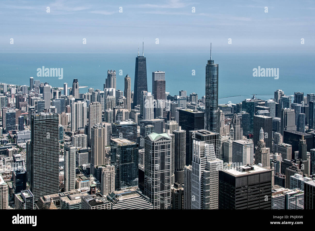View of skyscrapers from Willis Tower Skydeck with the Hancock Building, Trump International Tower and Lake Michigan, Downtown, Chicago, IL. - Stock Image