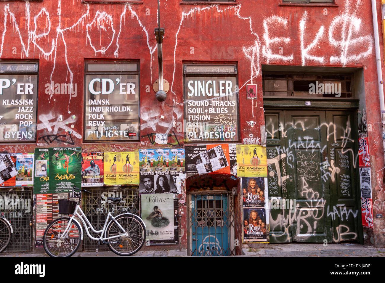 Poster wall to announce concerts, festivals, and Copenhagen, Denmark - Stock Image