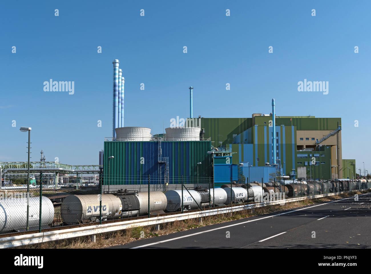 Industrial waste incinerator in an industrial park Frankfurt-Hoechst. - Stock Image