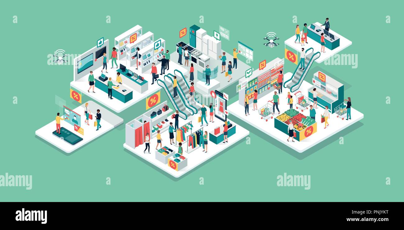 Happy people shopping together at the virtual shopping mall and clearance sale: electronics, clothing, home furnishing and grocery store - Stock Vector