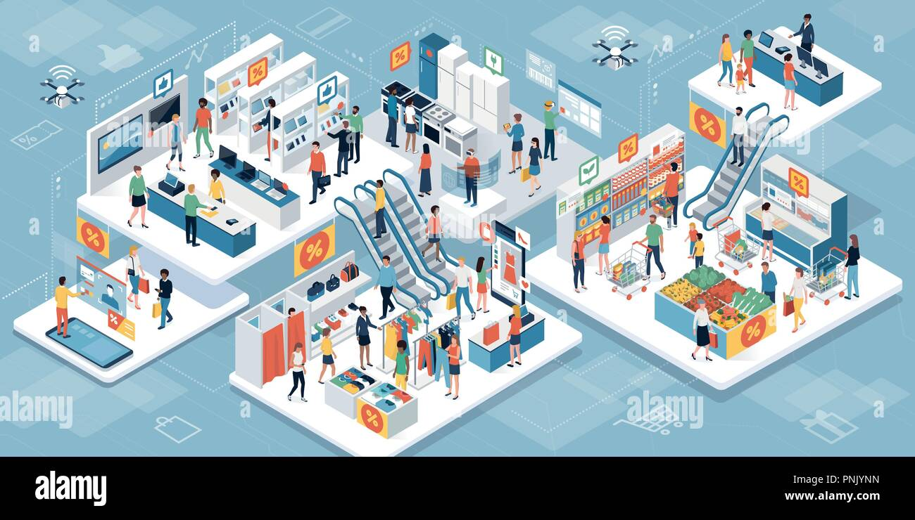 Happy people shopping together at the supermarket and buying products: augmented reality and clearance sales concept - Stock Vector