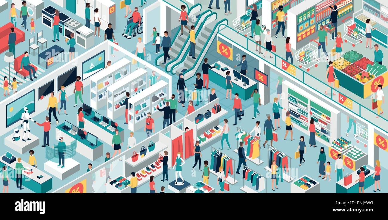 Happy people shopping together at the shopping mall and clearance sale: electronics, clothing, home furnishing and grocery store - Stock Vector