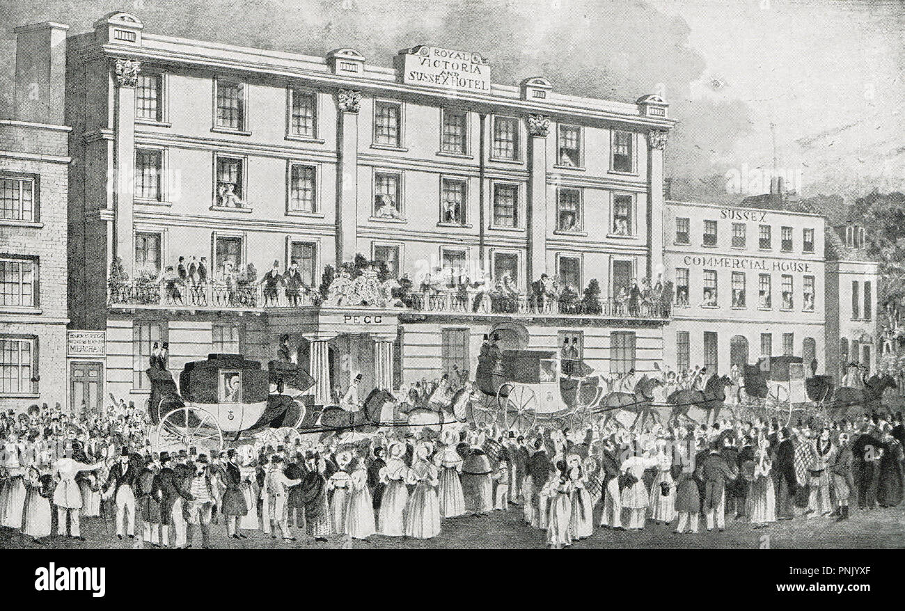 Princess Victoria, the future Queen Victoria, leaving Tunbridge Wells, 1834,  with her mother,  the duchess of Kent - Stock Image