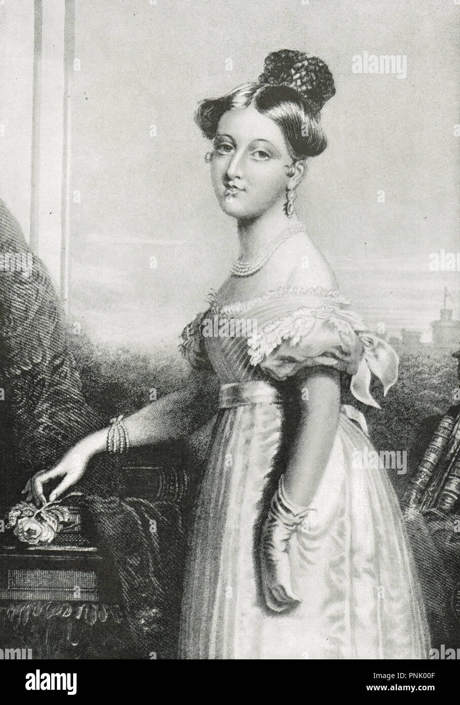 Princess Victoria, aged 16, future Queen Victoria as a young girl.  Later to be Queen of the United Kingdom of Great Britain and Ireland, and Empress of India - Stock Image