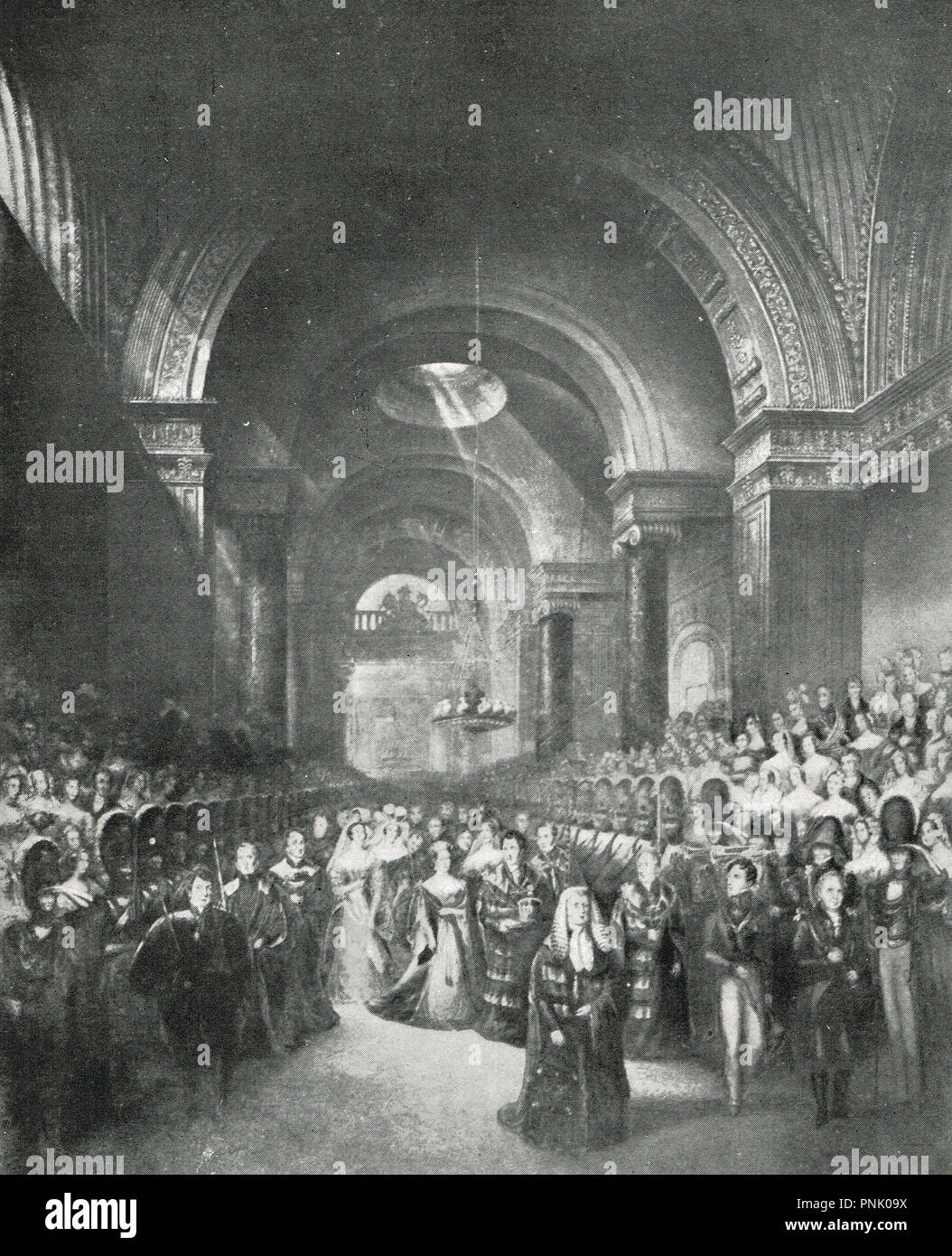 Queen Victoria visiting the old house of Lords shortly after her accession to dissolve parliament in 1837 - Stock Image