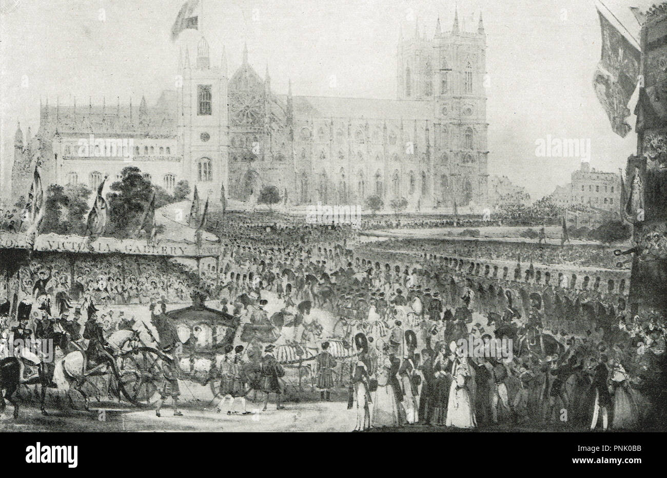 The coronation procession of Queen Victoria, Westminster abbey, 28 June 1838 - Stock Image