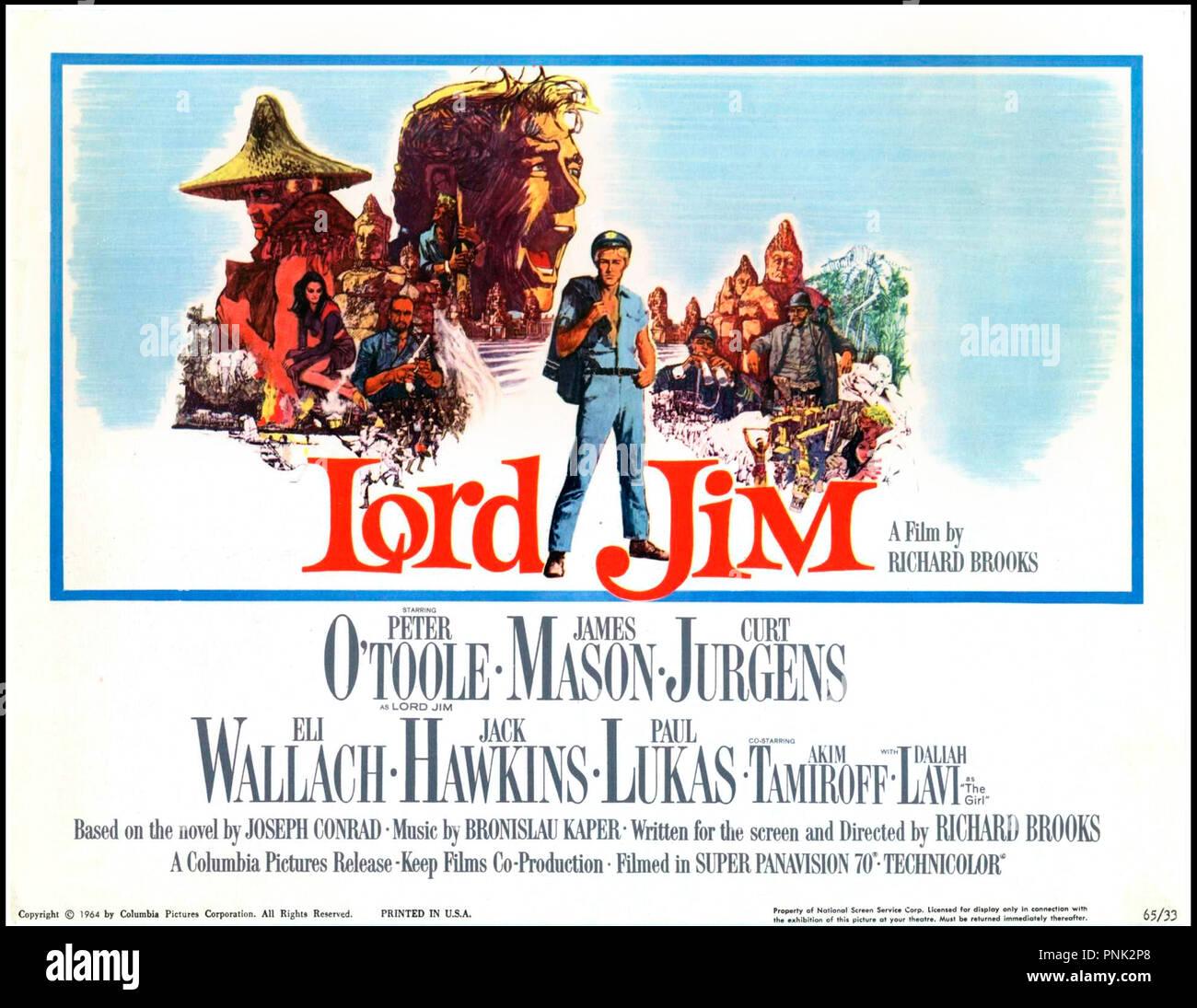 Prod DB © Columbia Pictures / DR LORD JIM de Richard Brooks 1965 GB/USA affiche americaine avec Peter O'Toole aventure d'apres le roman de Joseph Conrad - Stock Image
