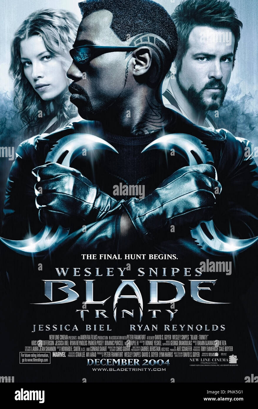 Blade: Trinity (2004) directed by David S. Goyer and starring Wesley Snipes, Kris Kristofferson, Parker Posey and Ryan Reynolds. Blade and the Nightstalkers take on Dracula. - Stock Image