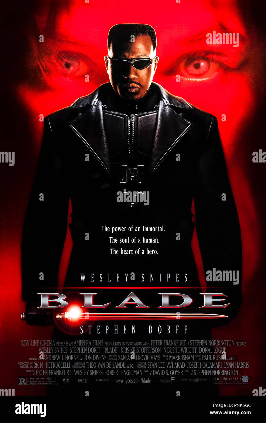 Blade (1998) directed by Stephen Norrington and starring Wesley Snipes, Stephen Dorff, Kris Kristofferson and N'Bushe Wright. Blade, half human and half vampire tries to rid the world of vampires. - Stock Image