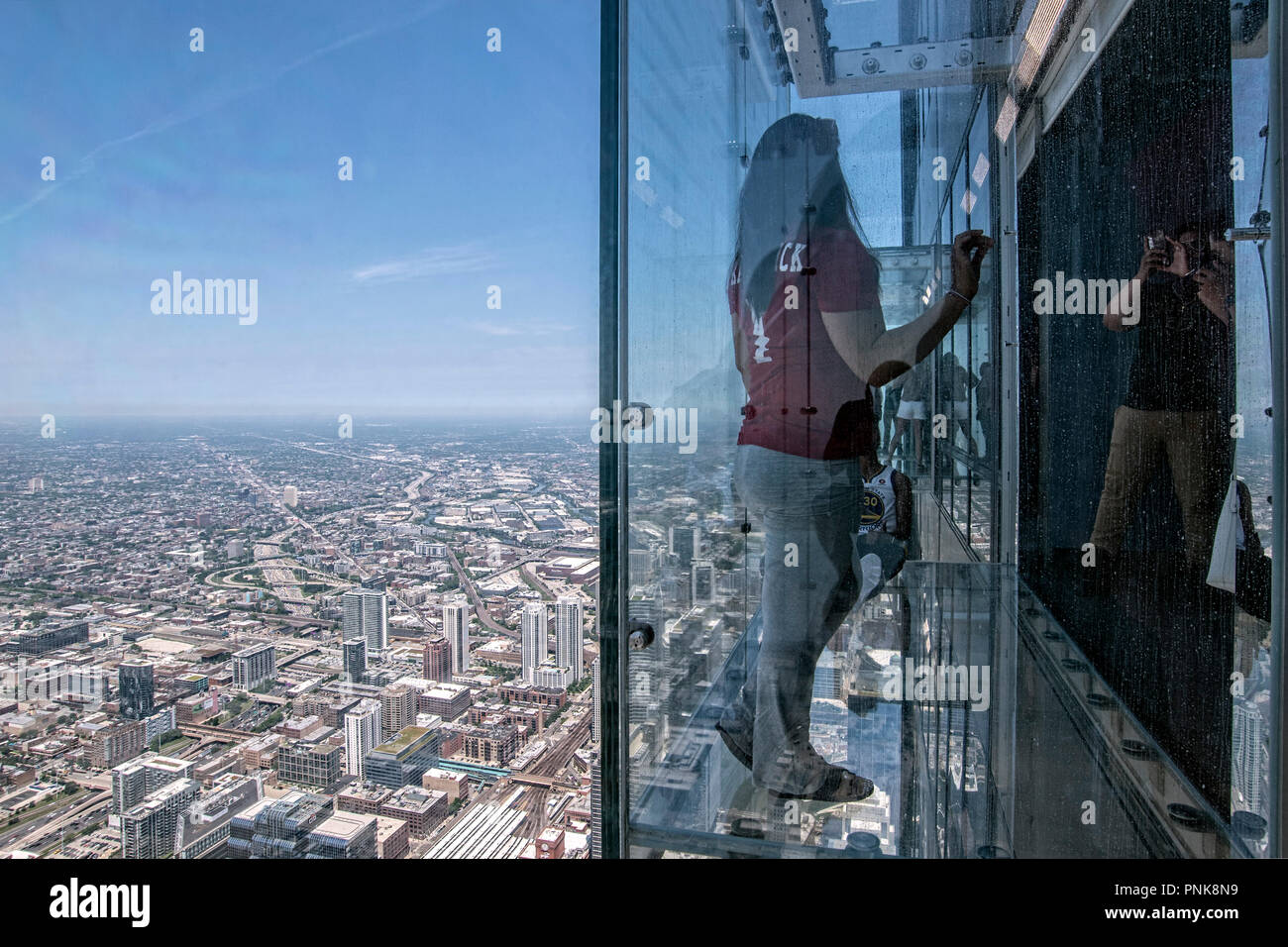 The Ledge, glass balcony on the 103rd Floor, Willis Tower, Downtown, Chicago, IL. - Stock Image