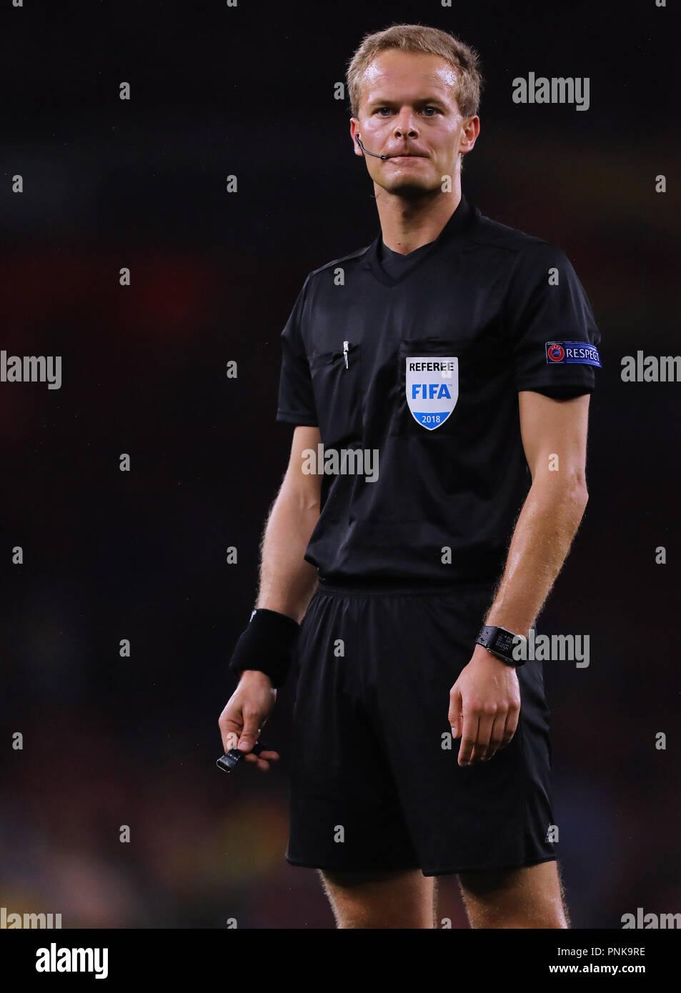 Referee, Bart Vertenten - Arsenal v Vorskla Poltava, UEFA Europa League - Group E, Emirates Stadium, London (Holloway) - 20th September 2018 - Stock Image