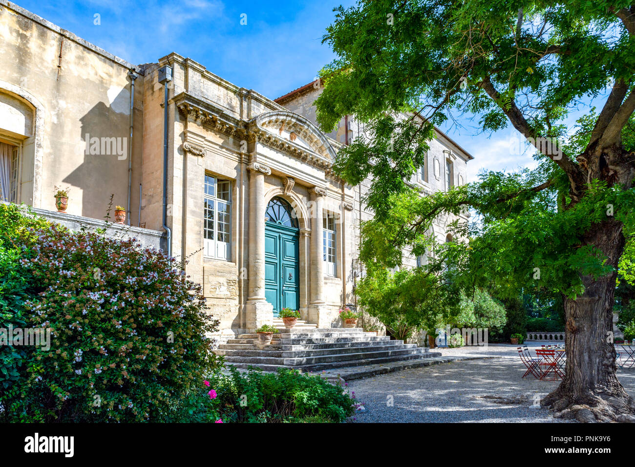 France. Gard (30). Villeneuve-Les-Avignon. Abbey Saint-André, Benedictine abbey located at the top of Mount Andaon. The abbey palace - Stock Image