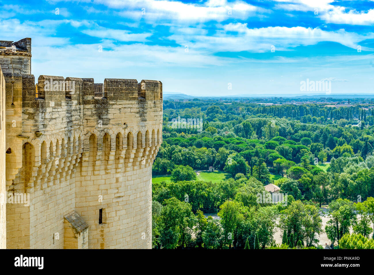 France. Gard (30). Villeneuve-Les-Avignon. Tower of Fort St. Andrew. Sponsored by Philippe le Bel at the end of the 13th century. - Stock Image