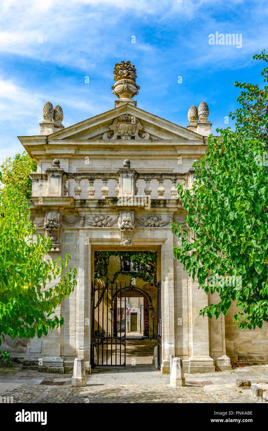 France. Gard (30). Villeneuve-Les-Avignon. Chartreuse Notre-Dame-du-Val-de-Bénédiction. The monumental portal - Stock Image