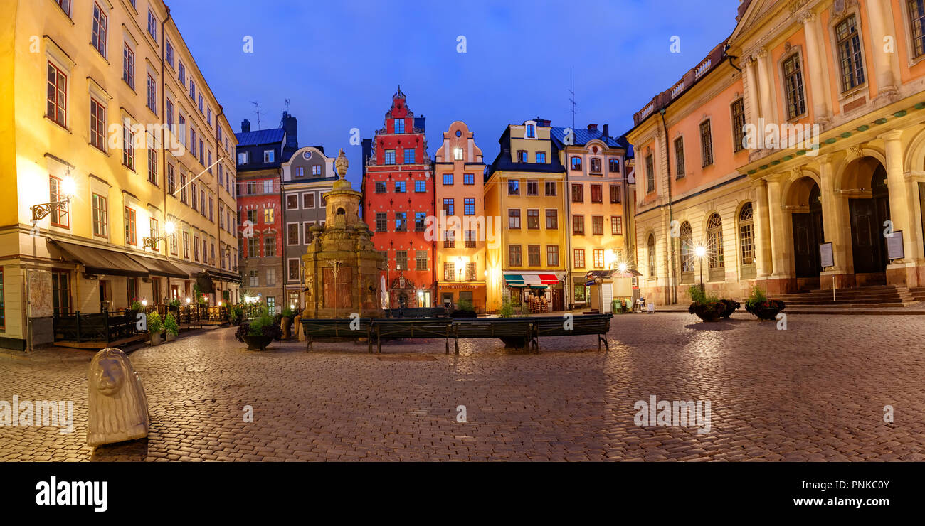 Famous colorful houses on Stortorget square, Gamla Stan in Old Town of Stockholm, the capital of Sweden Stock Photo