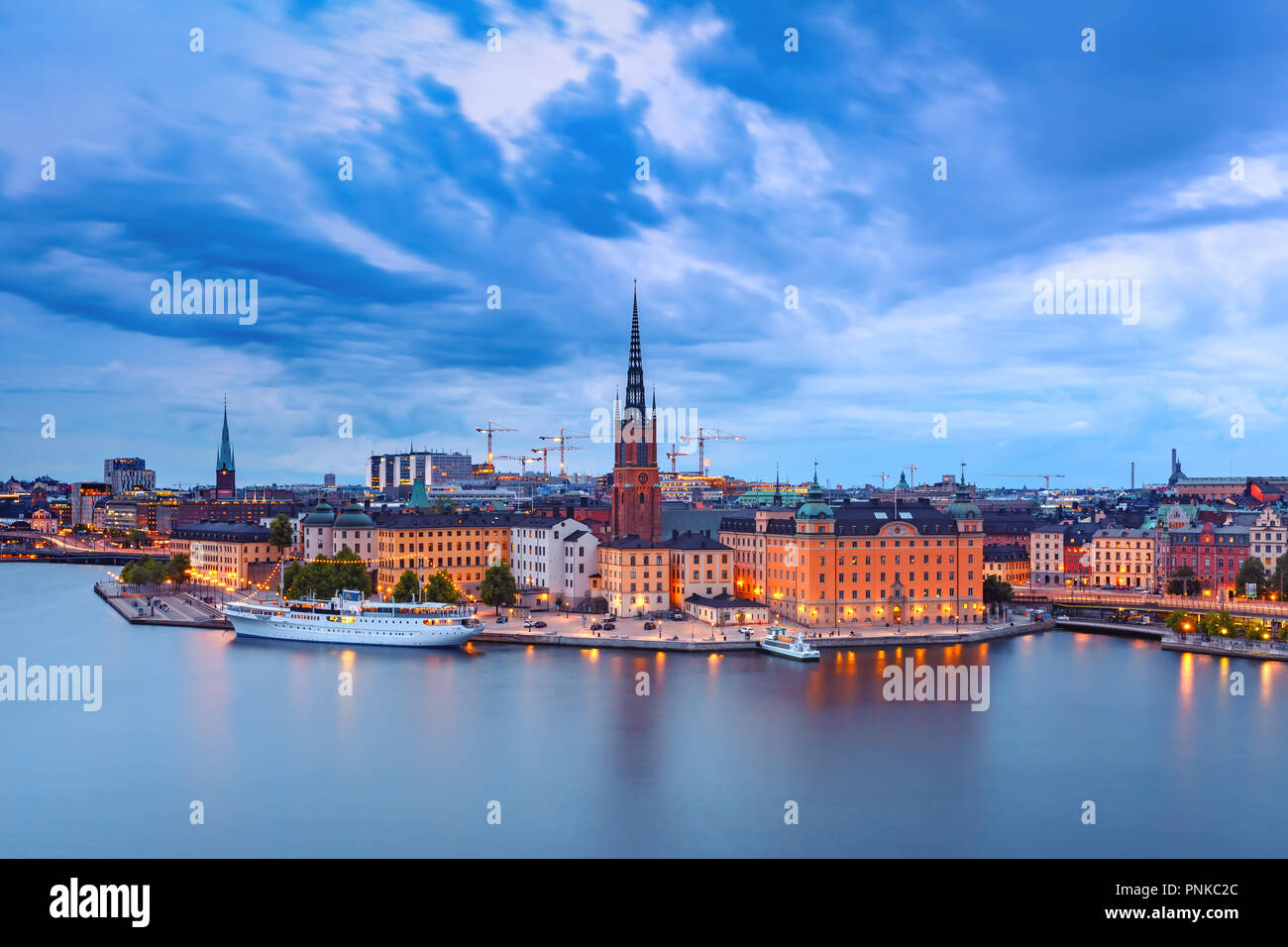 Scenic aerial night view of Riddarholmen, Gamla Stan, in the Old Town in Stockholm, capital of Sweden Stock Photo