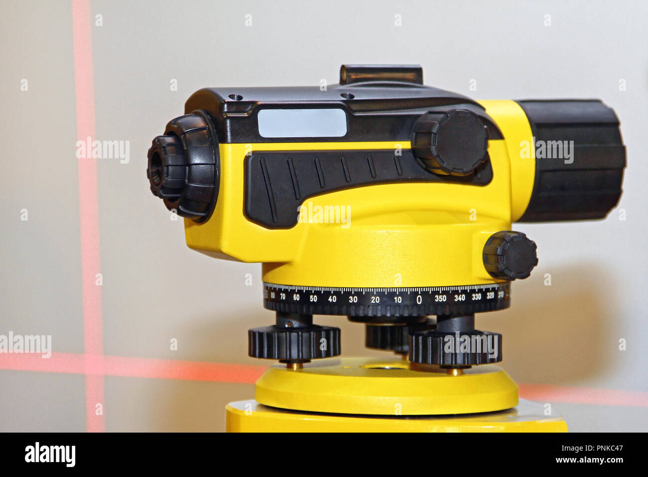 laser level measurement device for construction site stock photo